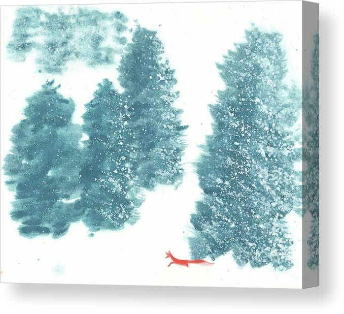 A Red Fox Wanders In A Snowy Forest. A Whisper Of The Great Silence Can Be Heard In The Winter Air. It's A Simple Contemporary Chinese Brush Painting On Rice Paper. Canvas Print featuring the painting Whisper of the Forest II by Mui-Joo Wee