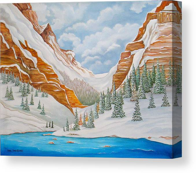 Arizona Canvas Print featuring the painting Winter on the Colorado River by Carol Sabo