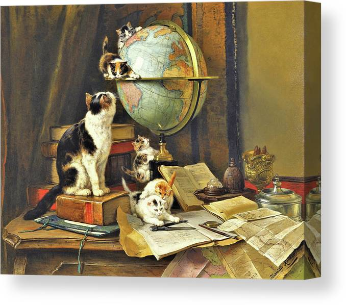 World Traveler Canvas Print featuring the painting World Traveler - Digital Remastered Edition by Henriette Ronner-Knip