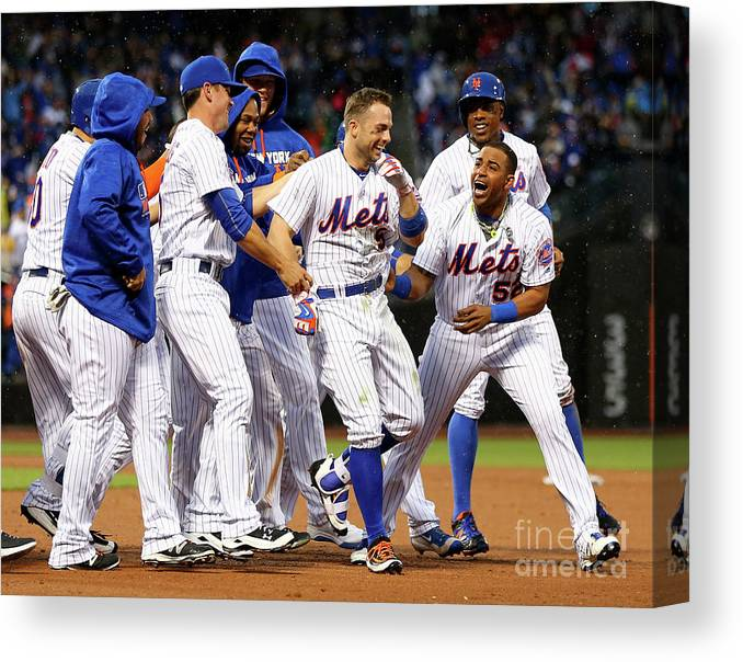 Yoenis Cespedes Canvas Print featuring the photograph Yoenis Cespedes and David Wright by Elsa