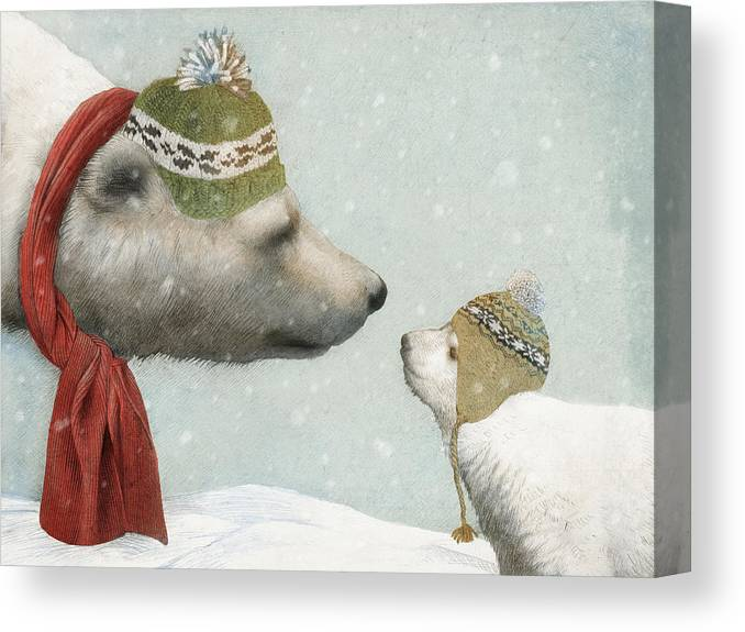 Polar Bear Canvas Print featuring the drawing First Winter by Eric Fan