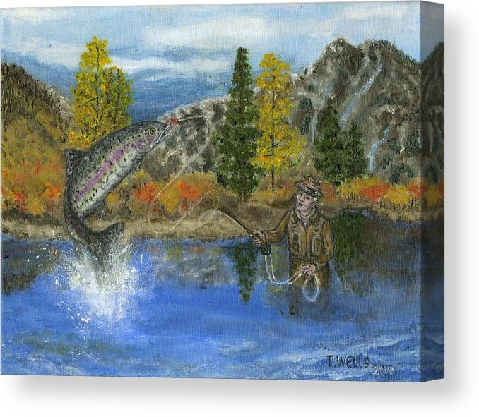 Trout Canvas Print featuring the painting Going for the Prize by Tanna Lee M Wells