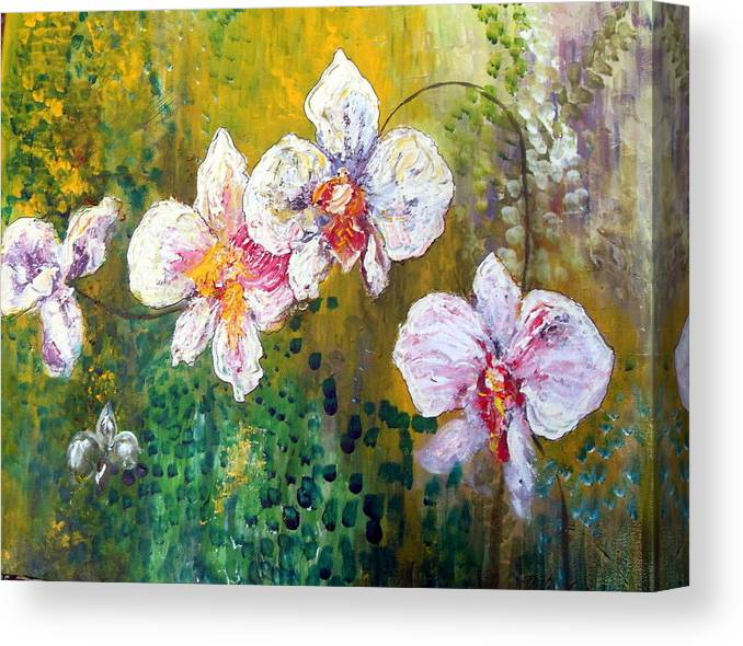 Canvas Print featuring the painting Orchids by Carol P Kingsley