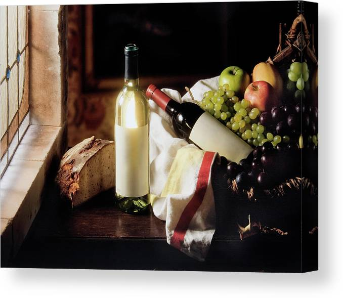 Golden Delicious Apple Canvas Print featuring the photograph Still Life With Two Wine Bottles by C-vino