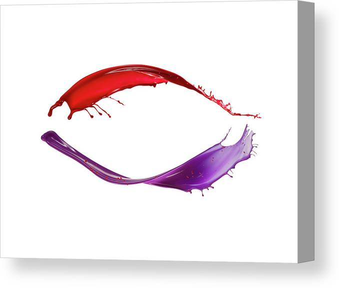 White Background Canvas Print featuring the photograph Splashing Of The Color Paint by Level1studio