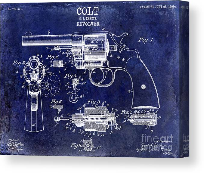 Colt Revolver Canvas Print featuring the photograph 1903 Colt Revolver Patent Drawing Blue by Jon Neidert