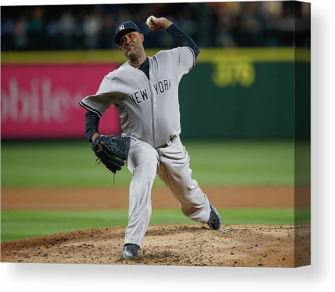 Second Inning Canvas Print featuring the photograph New York Yankees V Seattle Mariners by Otto Greule Jr