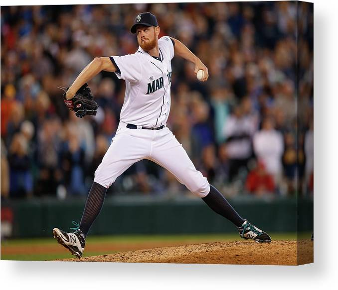 Ninth Inning Canvas Print featuring the photograph Texas Rangers V Seattle Mariners by Otto Greule Jr