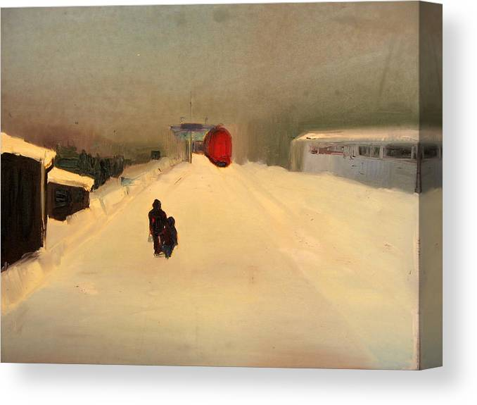Landscape Canvas Print featuring the painting A Railway Impression II by Marta Zamarska