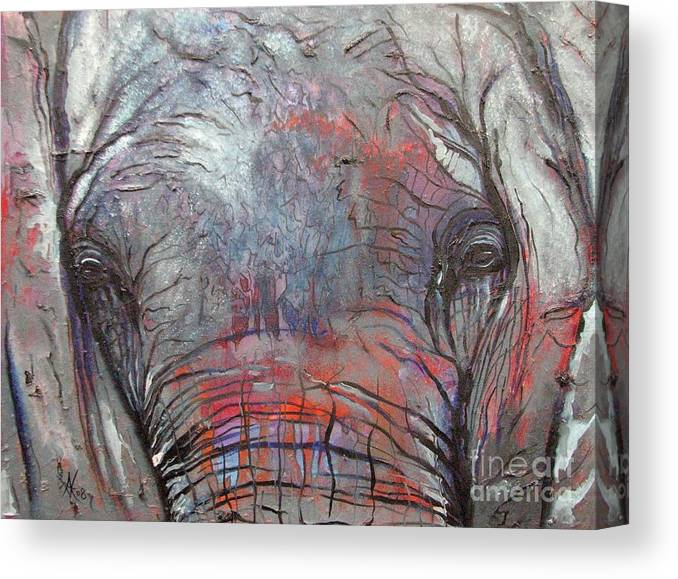 Elephant Canvas Print featuring the painting Alone by Aimee Vance