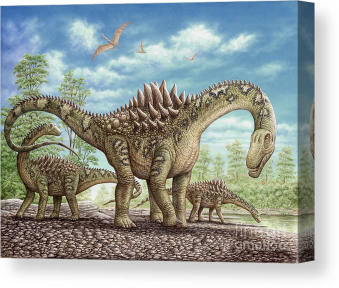 Animal Canvas Print featuring the painting Ampelosaurus dinosaur by Phil Wilson