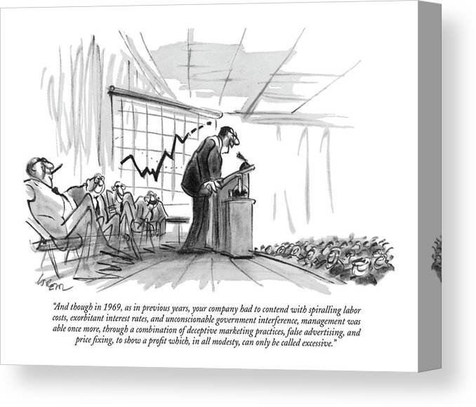 (c.e.0. Addressing Auditorium Of Stock-holders.) Business Canvas Print featuring the drawing And Though In 1969 by Lee Lorenz