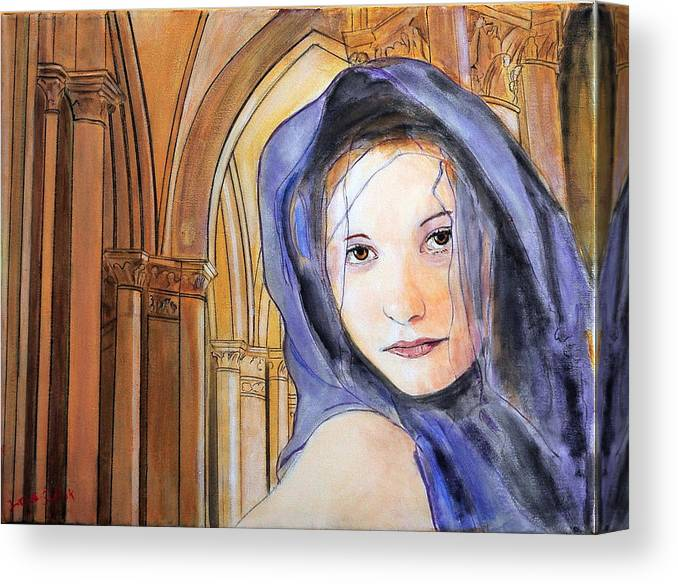 Woman Canvas Print featuring the painting Angel of Notre Dame by Jean-Paul Setlak