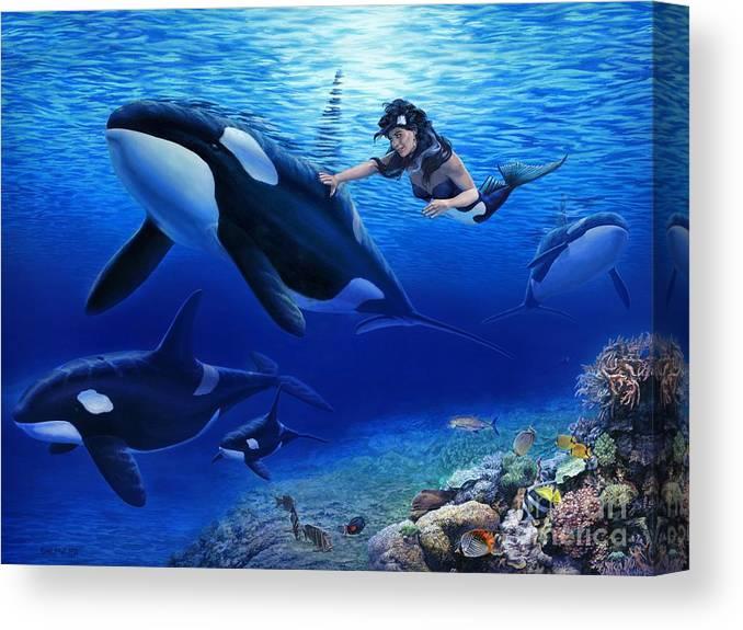 Mermaid Canvas Print featuring the painting Aquaria's Orcas by Stu Shepherd
