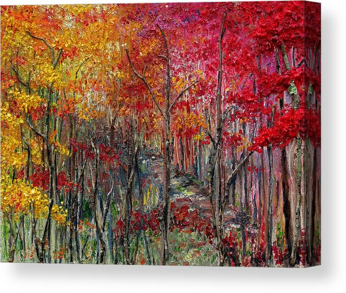 Autumn Canvas Print featuring the painting Autumn In The Woods by Karin Dawn Kelshall- Best