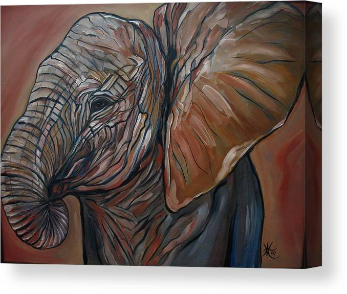 Wild Life Canvas Print featuring the painting Baby Elephant by Aimee Vance