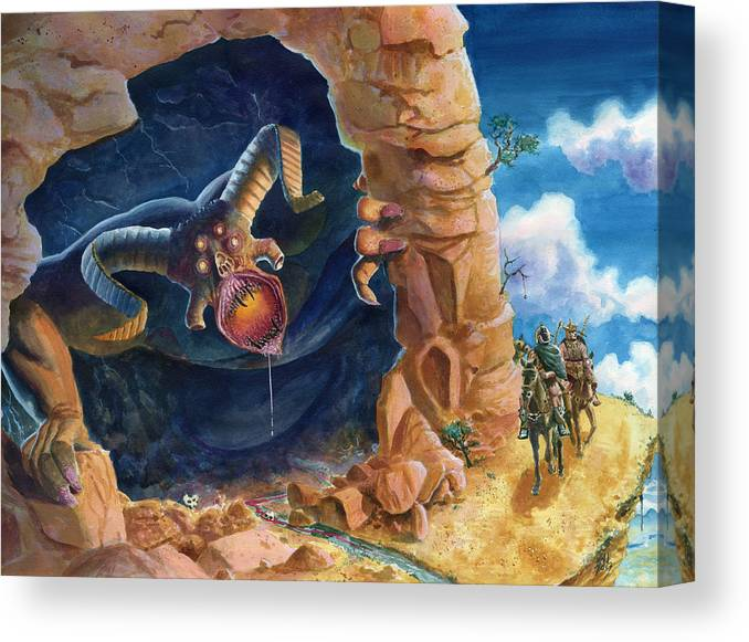 Guardian Beast Canvas Print featuring the painting Beast by Ken Meyer jr