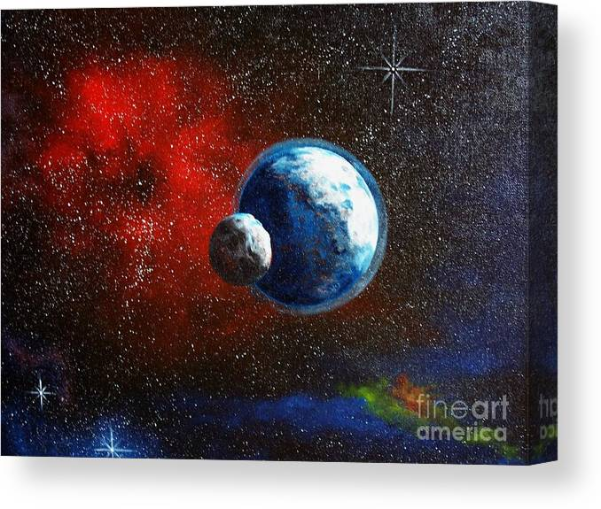 Astro Canvas Print featuring the painting Broken Moon by Murphy Elliott