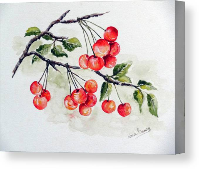 Cherries Canvas Print featuring the painting Cherries by Karin Dawn Kelshall- Best