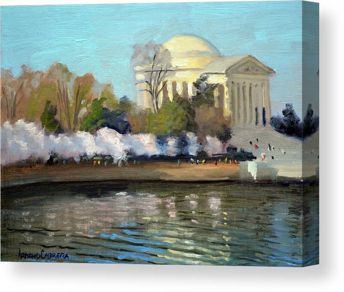 Washington Dc Canvas Print featuring the painting Cherry Blossoms Morning - Washington DC by Armand Cabrera
