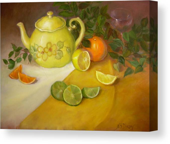 Stillife Canvas Print featuring the painting Citrus n Tea by Naomi Dixon