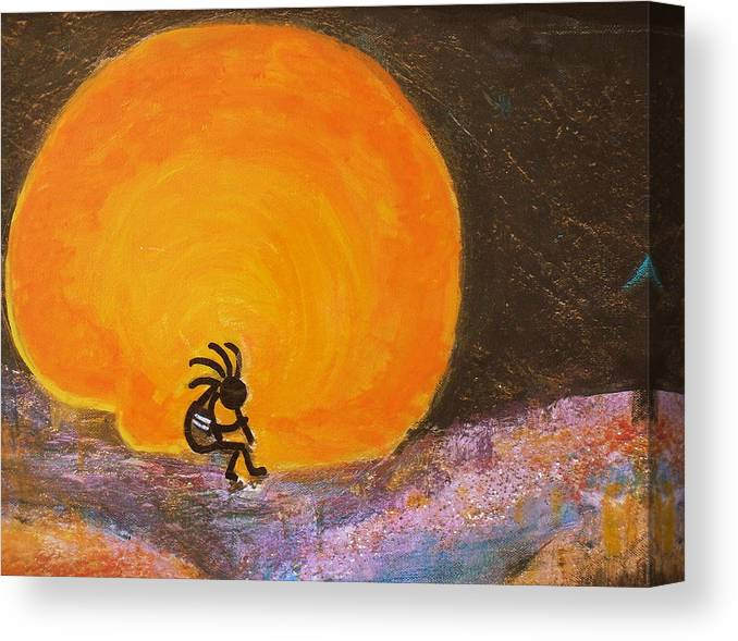 Kokoplelli Canvas Print featuring the painting Closer View Kokopelli On A Marmalade Moon Night by Anne-Elizabeth Whiteway
