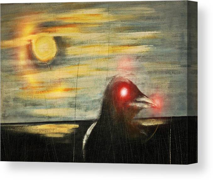 Original With Digital Mix Canvas Print featuring the mixed media Crow 45 by Joseph Ferguson