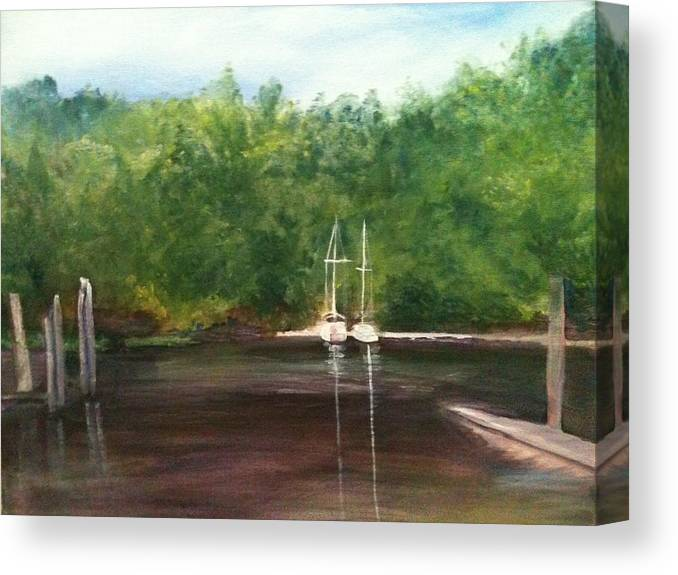 Plein Aire Canvas Print featuring the painting Curtain's Marina by Sheila Mashaw