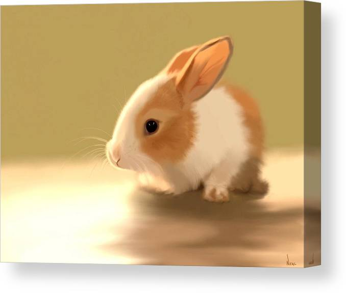 Bunny Canvas Print featuring the painting Cute by Greg Neal