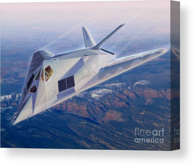 F-117 Canvas Print featuring the digital art F-117 The Dragon by Stu Shepherd
