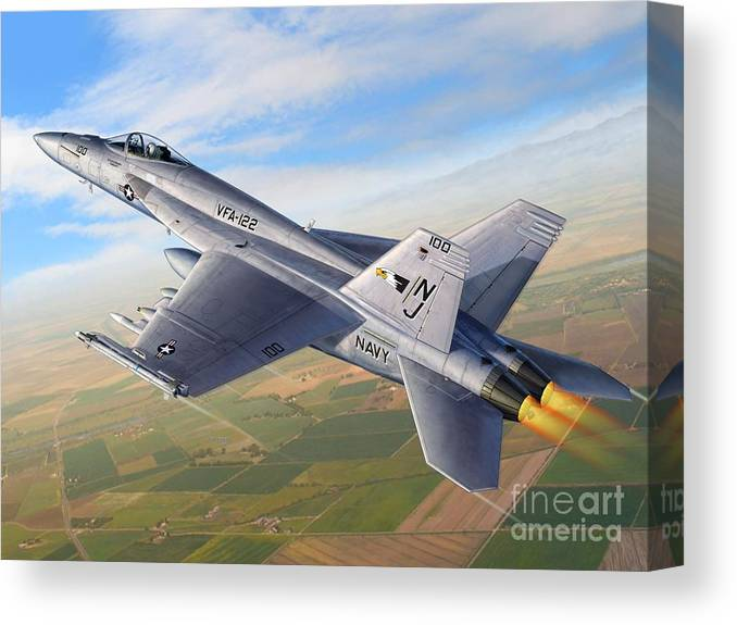 F-18 Canvas Print featuring the digital art F-18E Over the Valley by Stu Shepherd