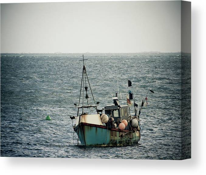 English Channel Canvas Print featuring the photograph Fishing Boat by Vfka