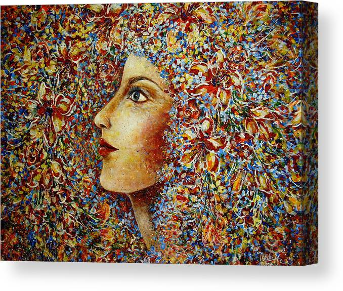 Flower Goddess Canvas Print featuring the painting Flower Goddess. by Natalie Holland
