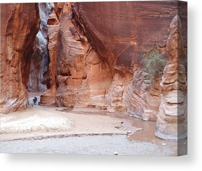 Tranquility Canvas Print featuring the photograph Hikers Entering Buckskin Gulch From by Photograph By Michael Schwab