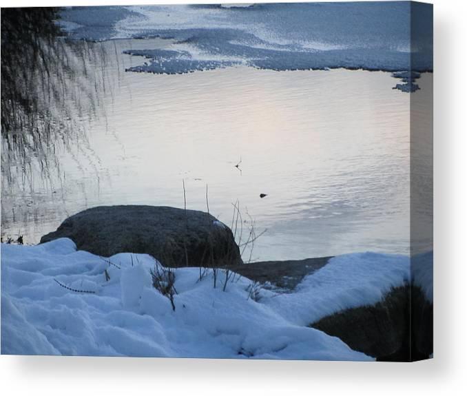 Snow Canvas Print featuring the photograph Icy Beach by Deborah Flusberg