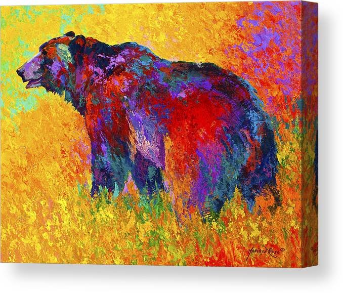 Bear Canvas Print featuring the painting Into The Wind by Marion Rose