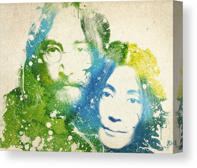 The Beatles Canvas Print featuring the painting John Lennon and yoko ono by Aged Pixel