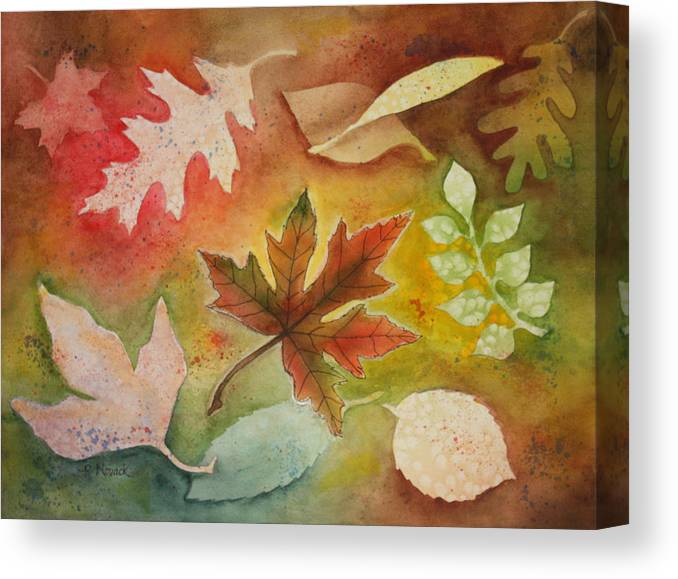 Leaves Canvas Print featuring the painting Leaves l by Patricia Novack