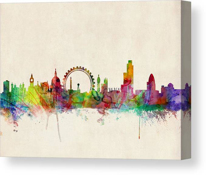 London Canvas Print featuring the digital art London Skyline Watercolour by Michael Tompsett