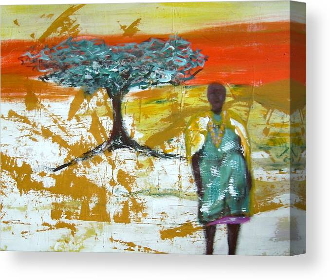 Figure Canvas Print featuring the painting Mama Africa by Joseph Ferguson