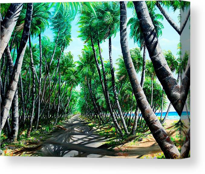 Coconut Trees Canvas Print featuring the painting Manzanilla Coconut Estate by Karin Dawn Kelshall- Best