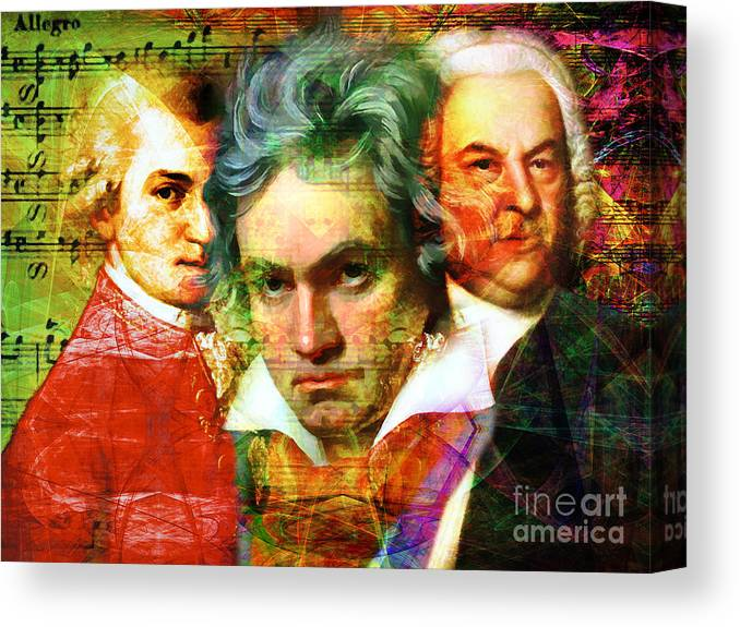 Wingsdomain Canvas Print featuring the photograph Mozart Beethoven Bach 20140128 by Wingsdomain Art and Photography