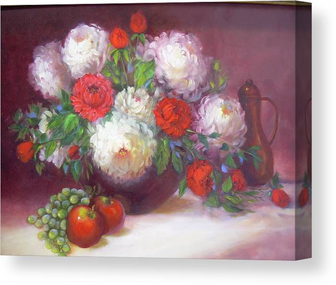 Canvas Print featuring the painting Mums for Mom by Naomi Dixon