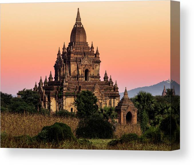 Non-urban Scene Canvas Print featuring the photograph Myanmar, Bagan, Ancient Temple At by Martin Puddy