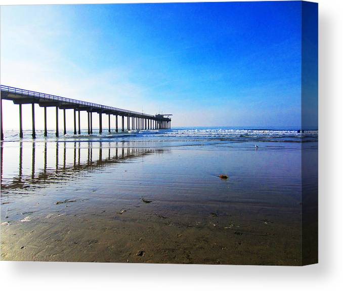 Ocean Prints Canvas Print featuring the photograph Ocean Pier Reflection by Christine Bell