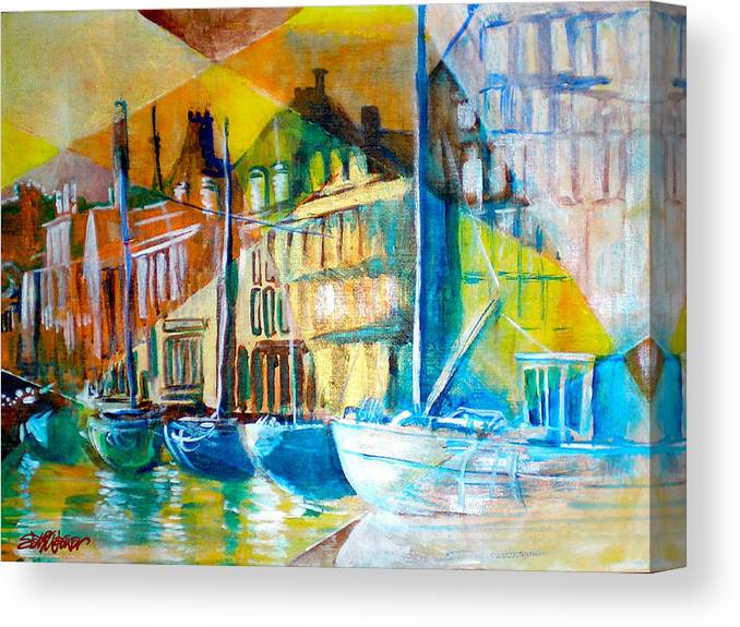 Old World Street Canvas Print featuring the painting Old Copenhagen thru Stained Glass by Seth Weaver