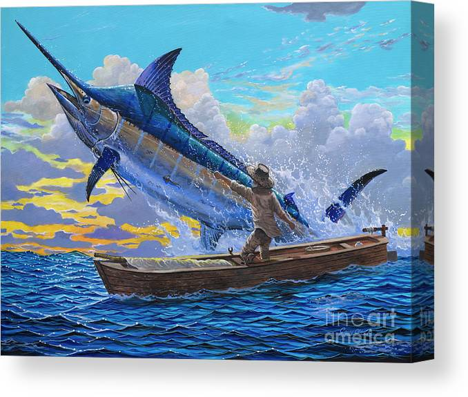 Marlin Canvas Print featuring the painting Old Man and the Sea Off00133 by Carey Chen