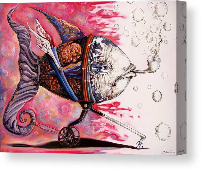 Surrealism Canvas Print featuring the painting On the conquer for land 3 - sudden return to drawing state by Darwin Leon