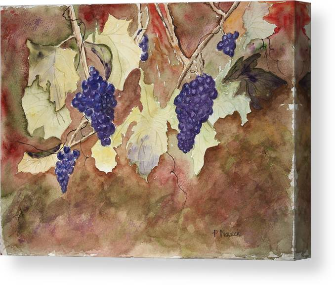 Grapes Canvas Print featuring the painting On The Vine by Patricia Novack