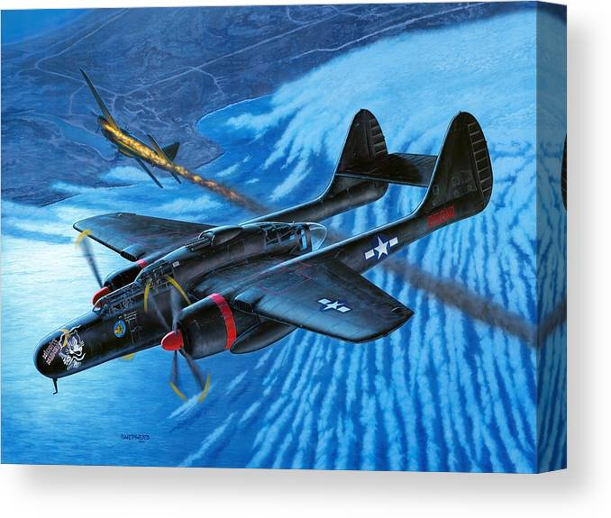 P-61 Canvas Print featuring the painting P-61 Black Widow Caught in the Web by Stu Shepherd
